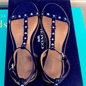 COACH Henrietta Navy Flat Sandals Size 9, like NEW